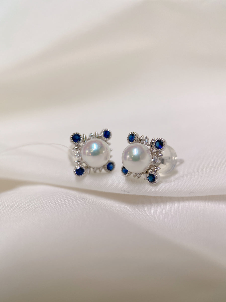 Akoya Pearl Earring Stud with Blue Sapphire and Diamond in 18k White Gold