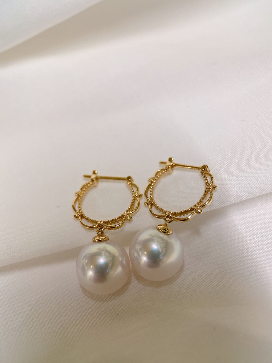 Freshwater Pearl Earrings in 18k Yellow Gold