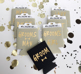 Groomsmen Proposal - Groom Can Cooler - Gold Can Cooler - Bachelor Party Favors - Bridal Party Gifts - Best Man Gift