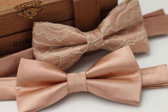 2 week production - Rose Gold Tie Pre tied Bow Tie - Rose Gold Bow Tie - Gold Bow Tie - Groom Bow Tie - Rose Pink Bow Tie - Adult Bow Tie