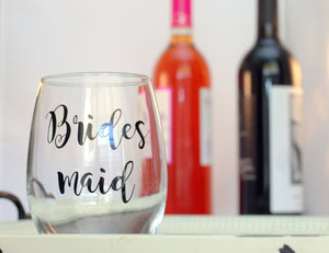 Bridesmaid Wine Glass - Bridesmaid Proposal - Bridal Party Gifts - Maid of Honor Wine Glass - Bridal Wine Glasses - Future Mrs Wine Glass