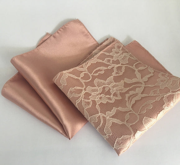 One Rose Gold Pocket Square - Rose Gold Hanky - Rose Gold Handkerchief - Rose Gold Wedding - Rose quartz pocket square - Pocket Square