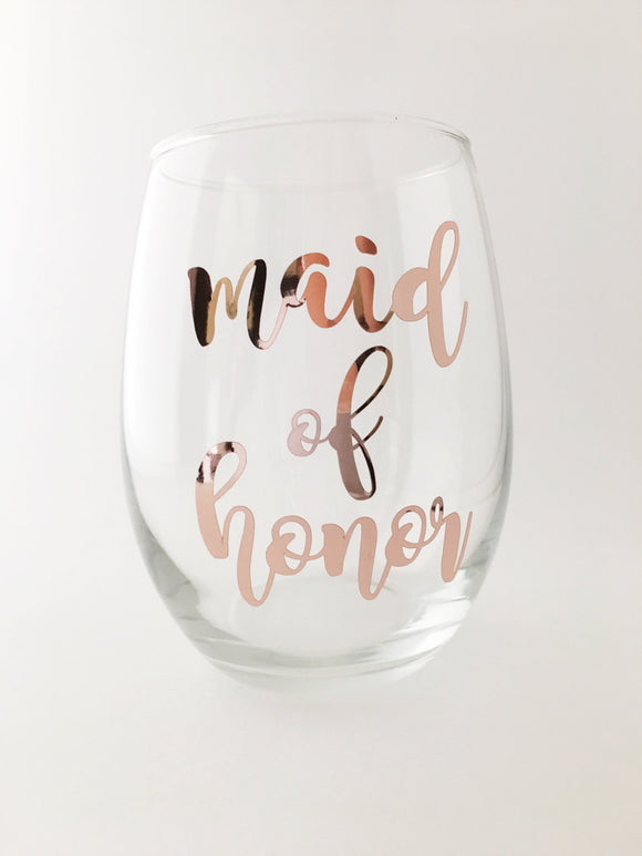 Gift for Maid of Honor - Wine Glass - Bridesmaid gift - Bridal Party Gifts - Mother of the Bride Wine Glass - Bridal Gift