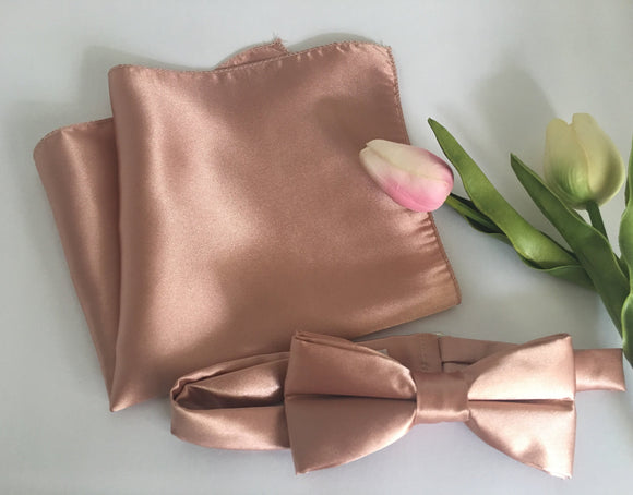 2 week production - Rose Gold Bow Tie & Pocket Square Combo - Rose Gold Bowtie - Rose Gold Handkerchief - Rose Gold Wedding - Rose Quartz