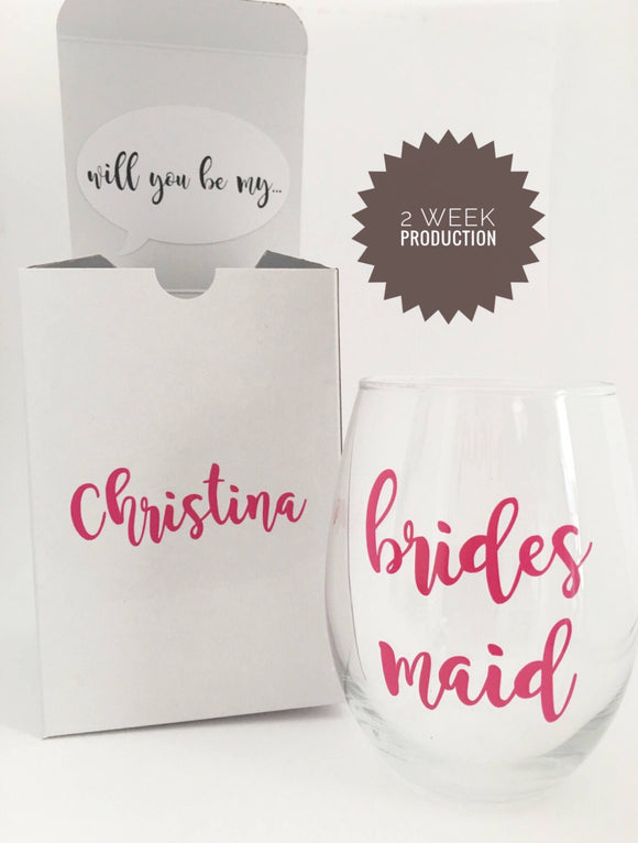 2 week production time - Bridesmaid Proposal Box - Bridesmaid Proposal - Hot Pink Wedding - Will you be my bridesmaid - Bridesmaid Gift