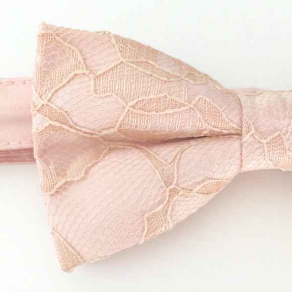 Light Pink Bow Tie with Champagne Lace - Blush Bow Tie - Champagne Bow Tie - Champagne Lace Bow Tie - Pink Bow Tie