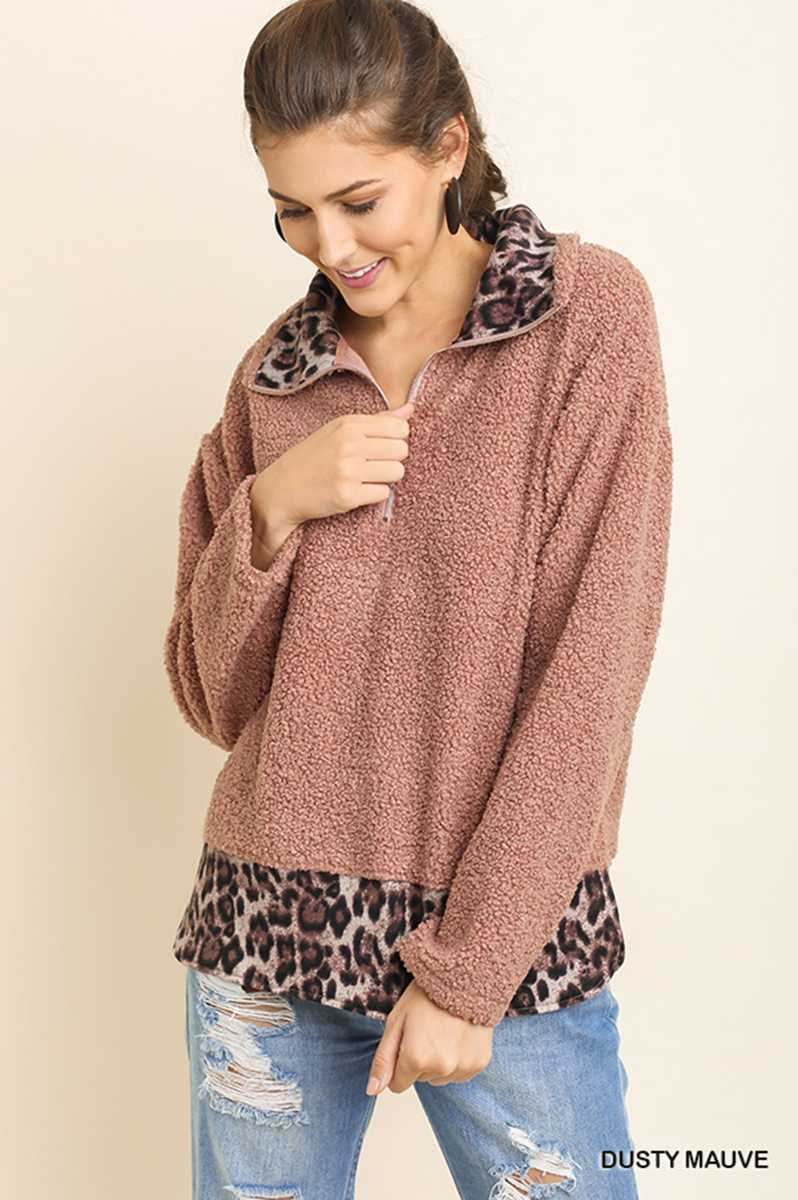 Dusty Mauve Leopard Half Zip Pullover