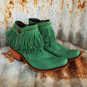 Turquoise Fringe Booties- 9