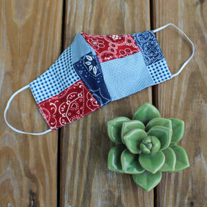 Blue/Red Bandana Mask