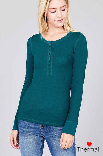 Teal Long Sleeve Henley