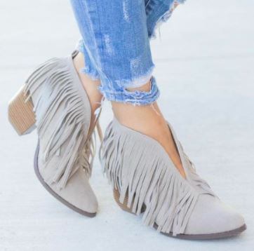 Miss Fringe Booties- Gray