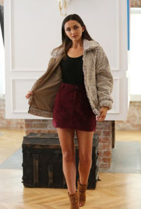 Maroon Corduroy Mini Skirt
