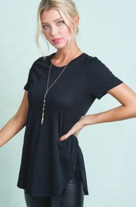 Split Side Top- Black