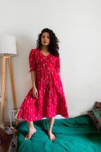 Load image into Gallery viewer, Mirch red ikat button down pure handloom cotton dress  Edit alt text