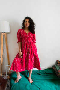 Mirch red ikat button down pure handloom cotton dress  Edit alt text