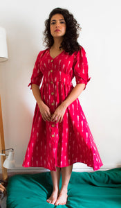 Mirch red ikat button down pure handloom cotton dress