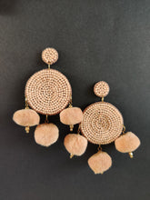 Load image into Gallery viewer, Peach pom pom handcrafted earrings