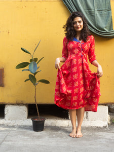Laal Trikon Ikat pure handloom cotton patchwork red and blue dress