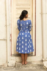 Heera Ikat dress in pink and blue pure handloom cotton