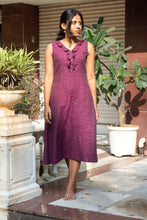 Load image into Gallery viewer, Imaarat Ikat pure handloom cotton frock style dress with frills