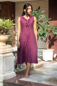 Imaarat Ikat pure handloom cotton frock style dress with frills