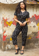 Load image into Gallery viewer, Black Ikat pure handloom cotton jumpsuit for summers