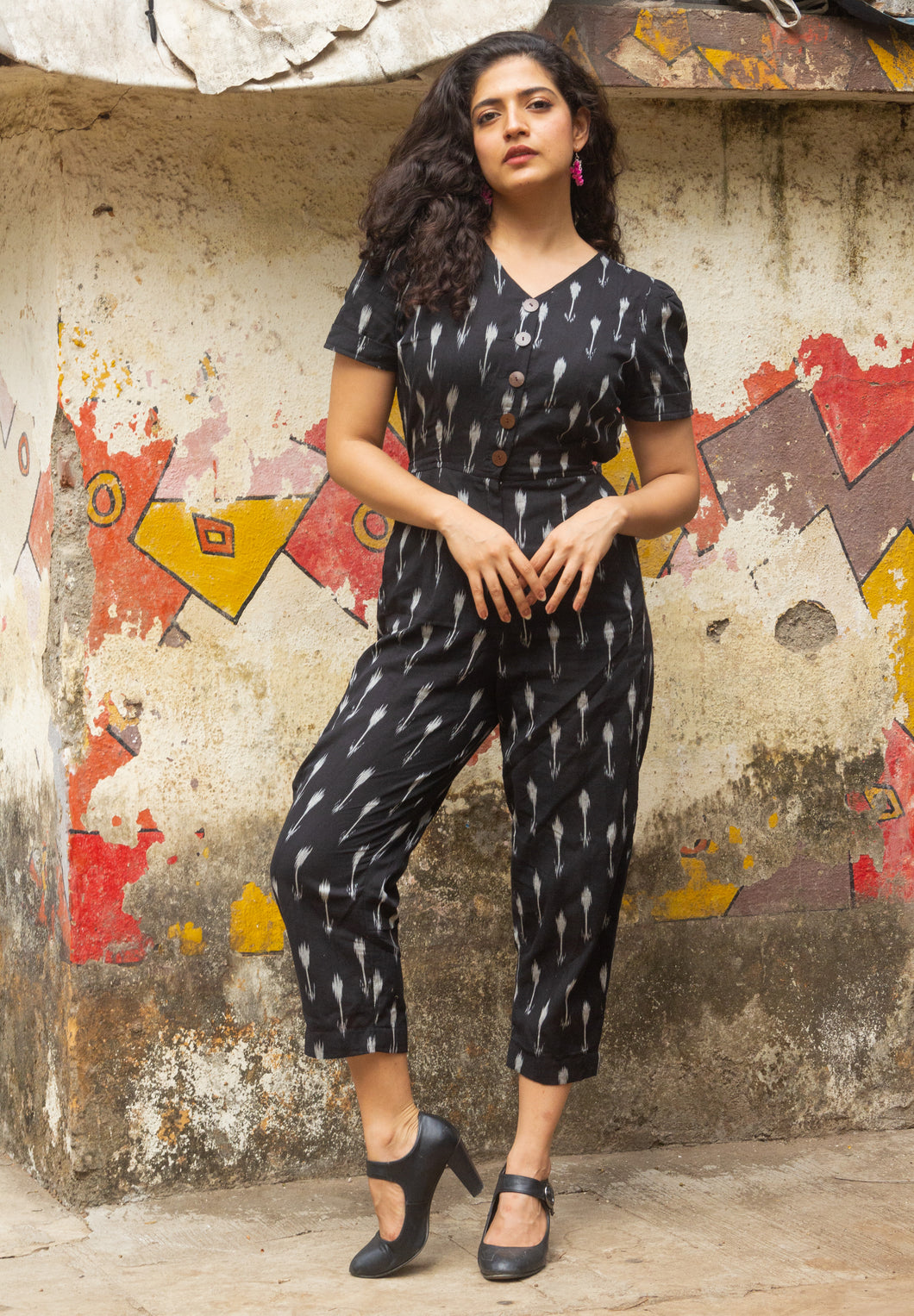 Black Ikat pure handloom cotton jumpsuit for summers