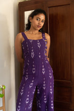 Load image into Gallery viewer, Purple Ikat pure cotton handloom jumpsuit