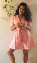 Load image into Gallery viewer, Pink Blazer pure handloom khaadi button down dress with a belt