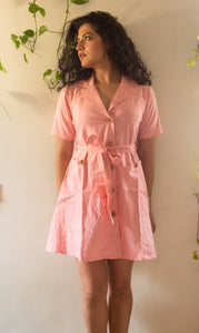 Pink Blazer hand woven cotton dress