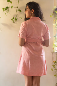 Pink Blazer pure handloom khaadi button down dress with a belt