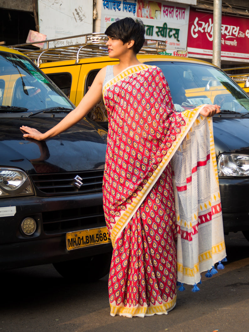 Feeling paisley today traditional hand block printed cotton mal saree