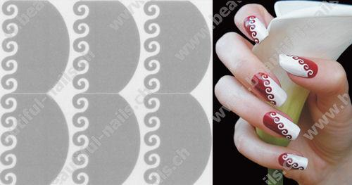 Selbstklebende Nagellack Nailart Schablone - Beautiful Nails