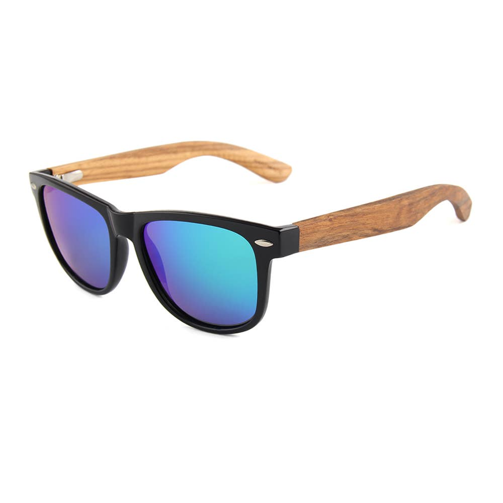 WUDN Handcrafted - Real Wood Sunglasses - Mens & Women's Zebra Wood Wanderer