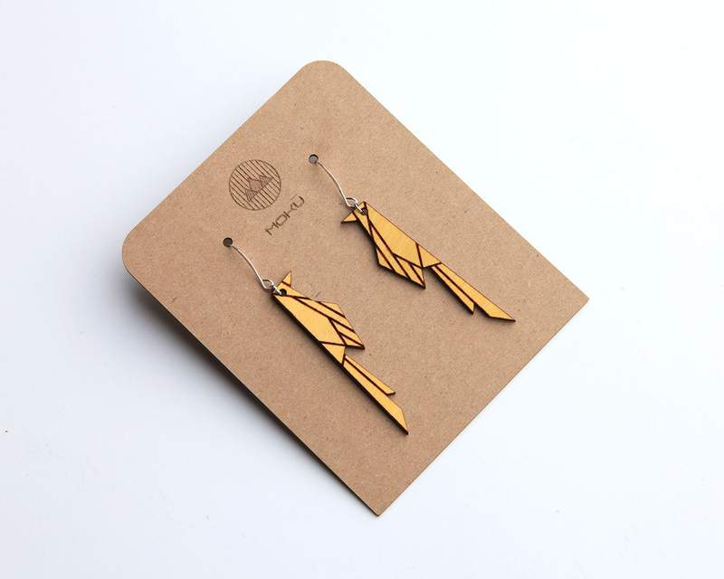 MOKU - Scissortail | Wood Earrings | Osage Orange and Walnut