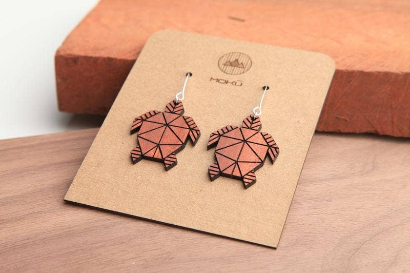 MOKU - Honu | Wood Earrings | Eucalyptus