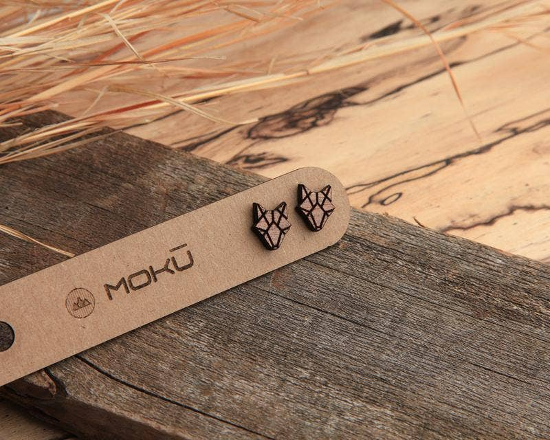 MOKU - Coyote | Wood Stud Earrings | Hackberry and Walnut
