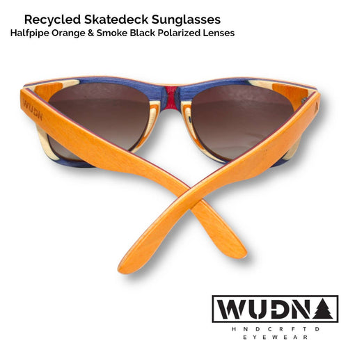 WUDN Handcrafted - Recycled Skatedeck Sunglasses - Halfpipe Orange