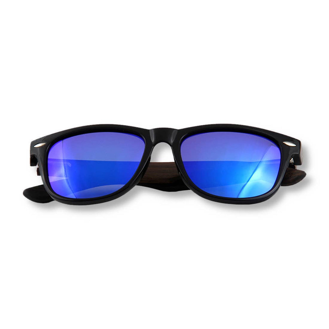 WUDN Handcrafted - Real Wood Sunglasses - Ebony Wanderer Blue