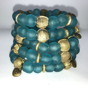 Turquoise Recycled Glass Bracelet