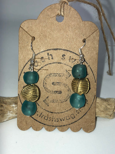 Turquoise Recycled Glass Earrings