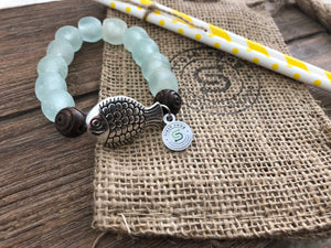 Fish Charm - Elastic Recycled Glass Beaded Bracelet
