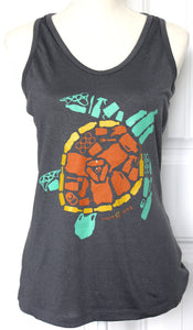 "Women's Sport ""Save the Sea Turtles Tank"" Carbon/Green"