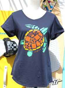 "Women's Navy ""Save the Sea Turtles Tee"" Green"