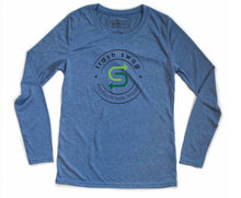 Womens Sport Long Sleeve Shirt - Heather Blue