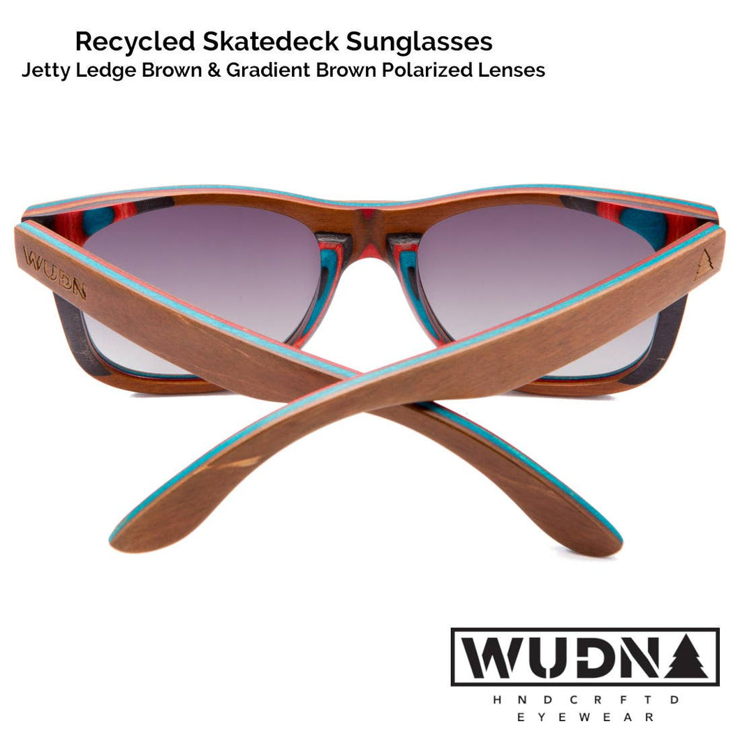 WUDN Handcrafted - Recycled Skatedeck Sunglasses - Jetty Ledge Brown