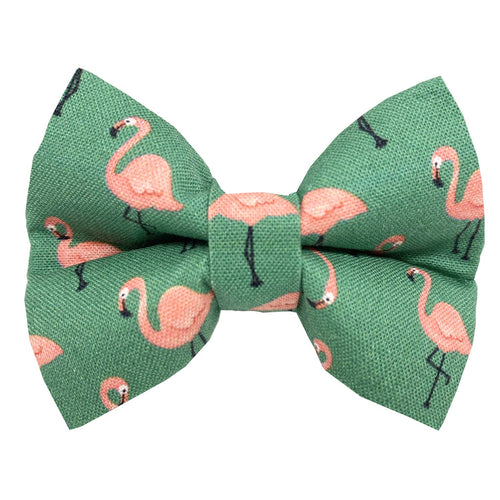 Rose City Pup - Pink Flamingo on Green Dog Bowtie