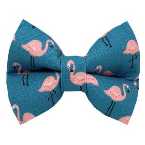 Rose City Pup - Pink Flamingo on Teal Dog Bowtie