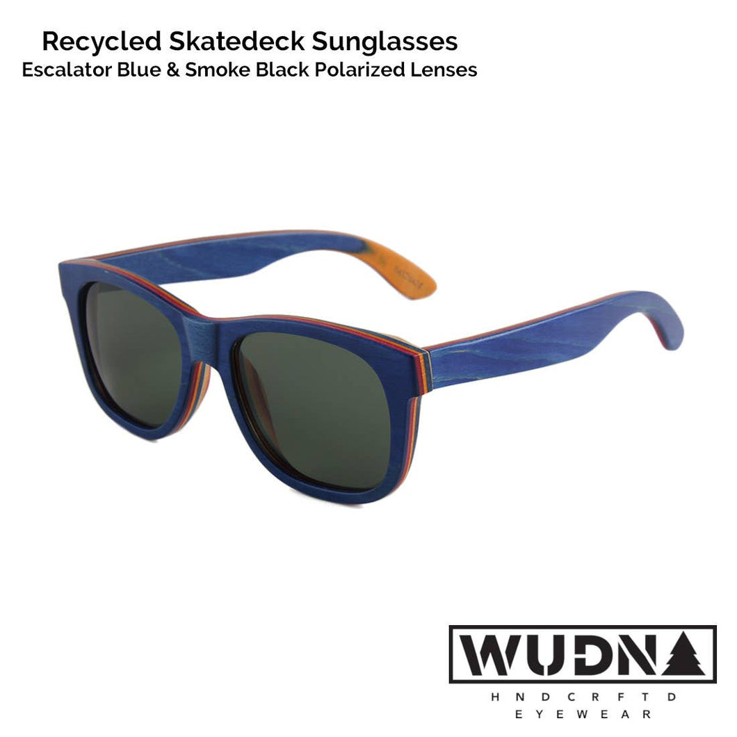 WUDN Handcrafted - Recycled Skatedeck Sunglasses - Escalator Blue