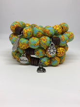 Elastic Recycled Glass Beaded Bracelet w/ Tagged Charm